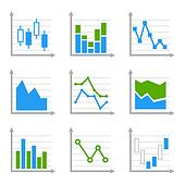 Business Infographic Colorful Charts and Diagrams.Blue ang Green Set 2