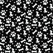 Black and White Doggy Tile Pattern Repeat Background