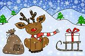 funny reindeer sitting on snow with gifts