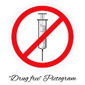 Drug free pictogram, black and white