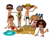 3d cartoon family on the beach