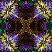Symmetrical pattern in stained-glass window style. Blue, green a