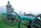 Cannons in a fog at gettysburg