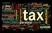 Tax concept in word tag cloud