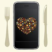 Food Icons With Phone