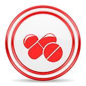 medicine red white glossy web icon
