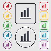 Growth and development concept. graph of Rate icon sign. symbol on the Round and square buttons with frame.