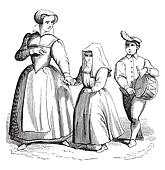 In tambourine is conduict the nun, vintage engraving.