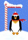 Holiday Penguin Illustration