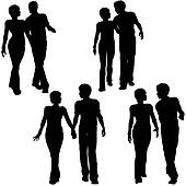 Man Woman Couple Walk Silhouettes