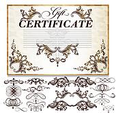 Certificate or coupon for document design. Certificate vector collection