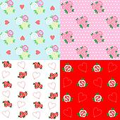 Seamless patterns with rose and heart