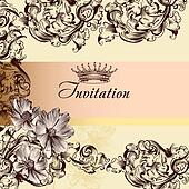 Cute wedding invitation card in vintage style