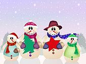 snowman family at Christmas