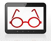 Science concept: Tablet Pc Computer with Glasses on display