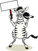Zebra cartoon with blank sign