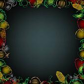 Black Background With Drawn Vegetables Border