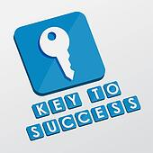 key to success and key sign, flat design blocks