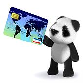 3d Baby panda bear pays with a debit card