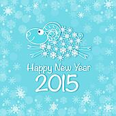 new year card with blue sheep