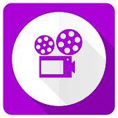 movie pink flat icon cinema sign