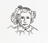 Original ink line drawing. Portrait of an Edwardian girl.