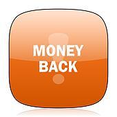money back orange square web design glossy icon
