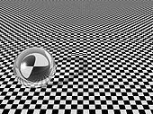 Clear glass ball on checkerboard background