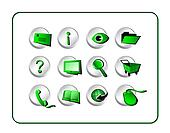Icon Set Golden - Green-Silver