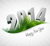 Celebration 2014 happy new year holiday card for grass wave design vector