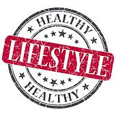 Healthy lifestyle red grunge textured vintage isolated stamp