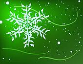 Snowflake on a bright green background