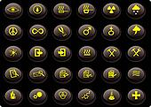 various yellow and black buttons