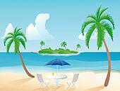 Table on a tropical beach