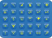 Blue and yellow square buttons