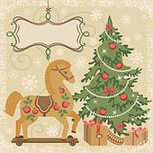 Horse and Christmas tree with gifts