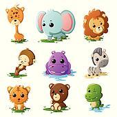Cartoon wildlife animal icons