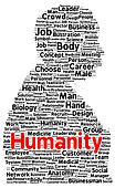 Humanity word cloud shape