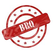 BBQ Red Circles Stamp Grunge
