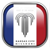 Flag of Kansas City, Missouri, square glossy button