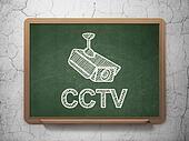 Safety concept: Cctv Camera and CCTV on chalkboard background