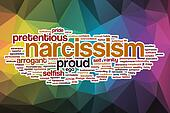 Narcissism word cloud with abstract background