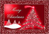 Red Christmas postcard