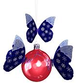 Snowflake Butterfly on Christmas Ornament
