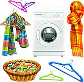 towel, scarf, basket, hangers and w
