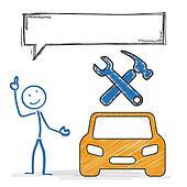 Stickmen Car Repair Shop Speech Bubble
