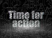 Time concept: Time for Action in grunge dark room