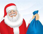 Santa With Presents (illustration)
