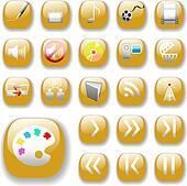 Shiny Gold Icons, Digital Media Art Set