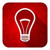 bulb flat icon, christmas button, light bulb sign